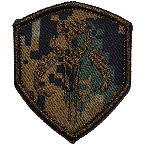 Tactical Gear Junkie Airsoft Patch 1 Mandalorian Bantha Skull Mercenary 2.5x3 Shield Morale Patch - Multiple Colors (Woodland Digital Marpat)