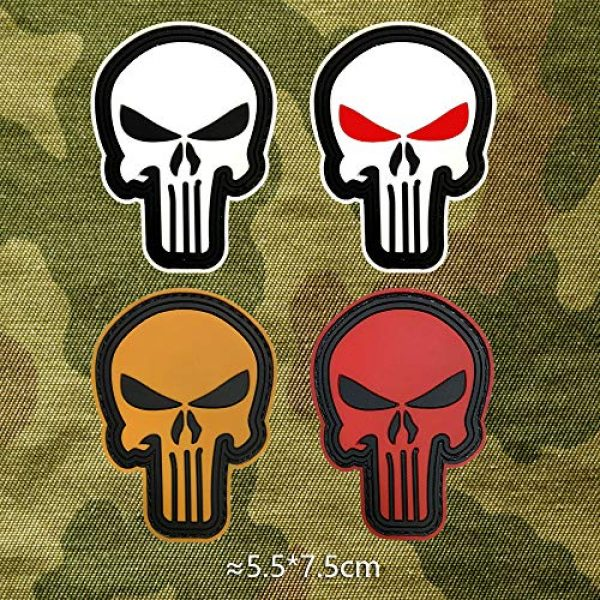 Morton Home Airsoft Patch 4 Morton Home 3D PVC Punisher Skull Army Morale MILSPEC Airsoft Tactical Patch (red)
