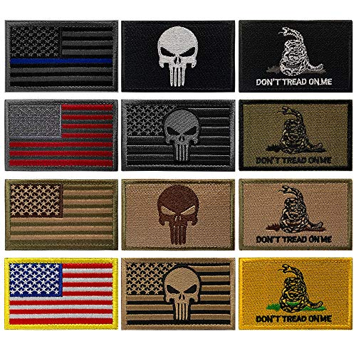OPQ Airsoft Patch 1 Aamerican Flag Military Patches Tactical Morale Patches Thin Blue Line Punisher Decorative Patche Fully Embroidered Morale Tags Patch for Backpacks Clothes CapsBags Military Uniforms (12pcs Patch)