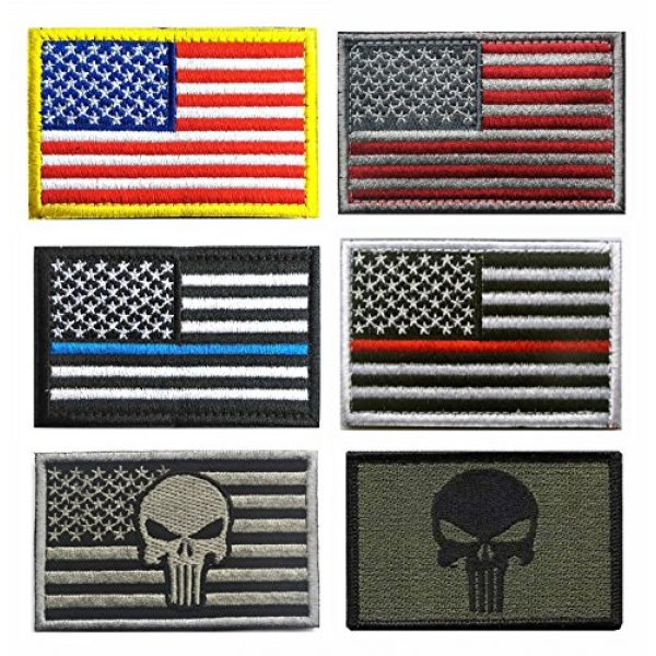 TOWEE Airsoft Patch 1 US Flag Patches, TOWEE 6 Pack American Flag USA Flags Punisher Patches Tactical Tags Patch Military Patch Embroidered Border America Military Uniform Emblem Morale Patches