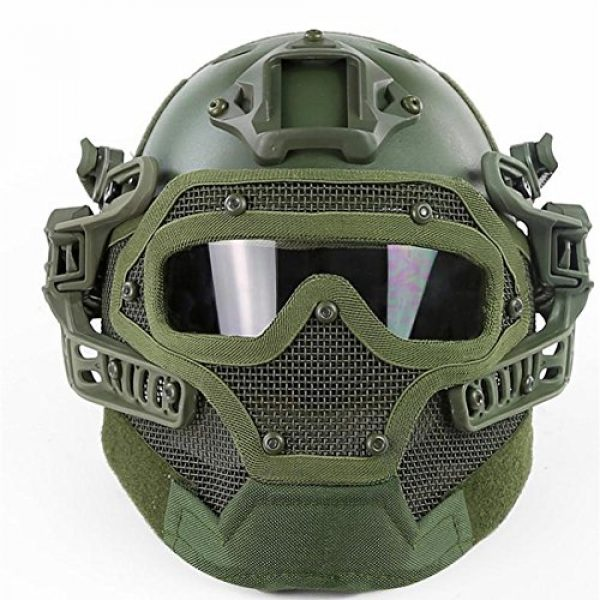 iMeshbean Airsoft Helmet 2 iMeshbean Fast Tactical Helmet Combined with Full Mask and Goggles for Airsoft Paintball CS and Other Outdoor Activities Free Size