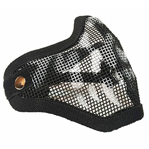 Sizet Airsoft Mask 3 Sizet Airsoft Skull Steel Mesh Half Face Mask Protector (Black)