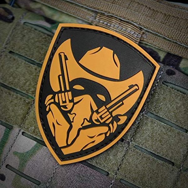 Morton Home Airsoft Patch 3 Morton Home Masked Cowboy Gunfighter Tactical Army Morale Airsoft 3D PVC Patch (Yellow)