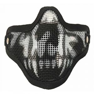 Sizet Airsoft Mask 1 Sizet Airsoft Skull Steel Mesh Half Face Mask Protector (Black)