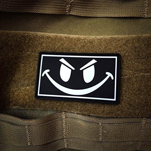 NEO Tactical Gear Airsoft Patch 4 The Original Glow in The Dark Smiley Face PVC Rubber Morale Patch - Crossfit Patch by NEO Tactical Gear Morale Patch