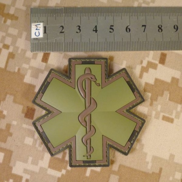LEGEEON Airsoft Morale Patch 4 LEGEEON Olive Drab Multicam OD EMS EMT Medic Paramedic Star of Life Morale PVC Hook&Loop Patch