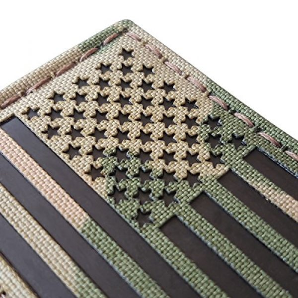 Tactical Freaky Airsoft Morale Patch 4 Bundle Set of 2 Multicam Infrared IR USA American Flags Forward and Reversed 3.5x2 Morale Fastener Patches