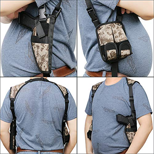 TW TWOD  5 Twod Shoulder Holster Ambidextrous Vertical Concealed Carry Shoulder Holster with Dual Magazine Holder Fits Most Pistols or Handgun