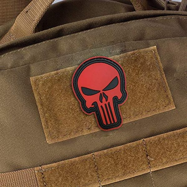 Morton Home Airsoft Patch 3 Morton Home 3D PVC Punisher Skull Army Morale MILSPEC Airsoft Tactical Patch (red)