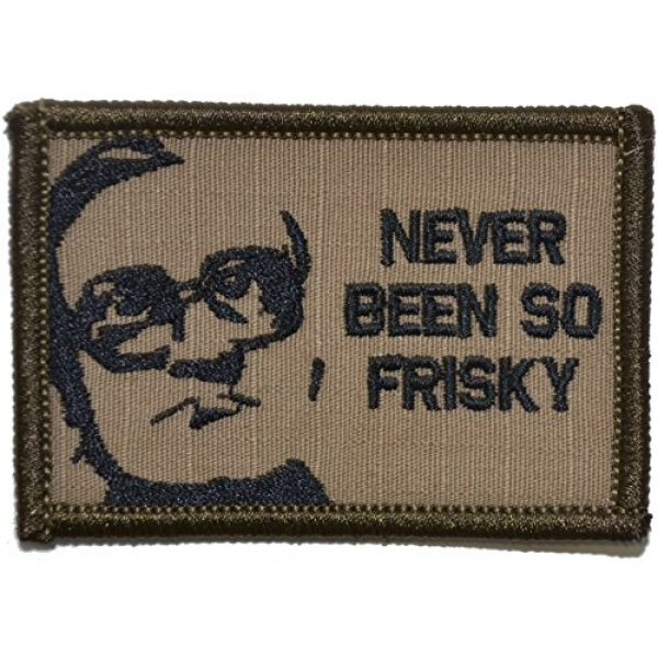 """Tactical Gear Junkie Airsoft Patch 1 Bubble Parody""""Never Been So Frisky"""" 2x3 Morale Patch - Coyote Brown with Black"""