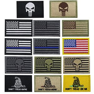 CREATRILL Airsoft Patch 1 Creatrill Bundle 14 Pieces USA Flag Patch Thin Blue Line Tactical American Flag US United States of America Military Morale Patches Set for Caps