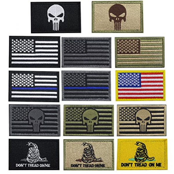 CREATRILL Airsoft Patch 1 Creatrill Bundle 14 Pieces USA Flag Patch Thin Blue Line Tactical American Flag US United States of America Military Morale Patches Set for Caps,Bags,Backpacks,Tactical Vest,Military Uniforms