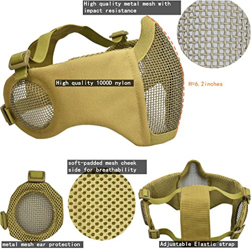 Jadedragon Airsoft Helmet 7 Jadedragon MICH 2000 Style ACH Tactical Helmet with Protect Ear Foldable Double Straps Half Face Mesh Mask & Goggle