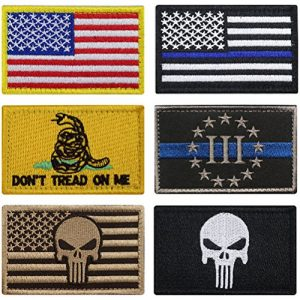 Masonicbuy Airsoft Patch 1 Bundle 6 Pieces Full Color USA American Thin Blue Line Police Flag Three Percenter Tactical Don't Tread On Me Fully Embroidered Morale Tags Patch