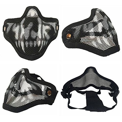 Sizet Airsoft Mask 5 Sizet Airsoft Skull Steel Mesh Half Face Mask Protector (Black)