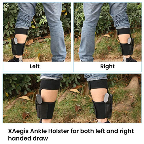 XAegis  5 XAegis Ankle Holster with Calf Strap and Spare Magazine Pouch Comfortable Conceal Carry Holster for Small or Medium Gun Frame with Length Less 7 inches