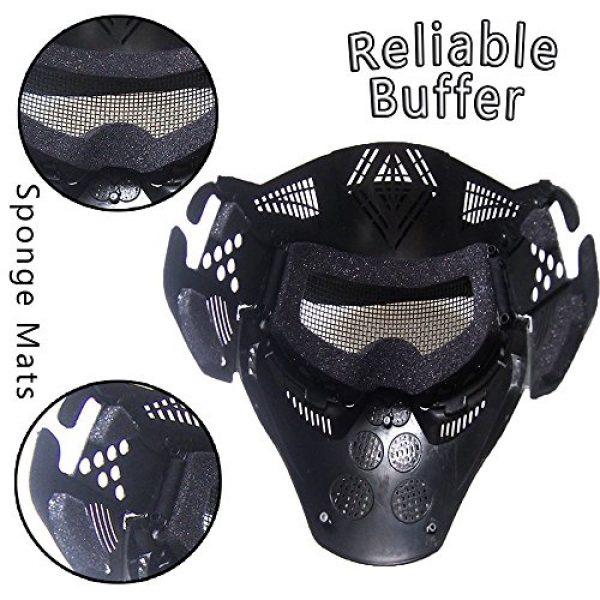 RNTOP_Hat Airsoft Mask 6 Balaclava Tactical Airsoft Full Face Mask Safety Metal Mesh Goggles Protection CS