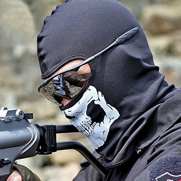 Zzoo Airsoft Mask 3 ZZoo Cotton Ghost Mask Skull Heads Warm Scarf Outdoor Cycling Dust Mask Halloween Cosplay Costume (Black)