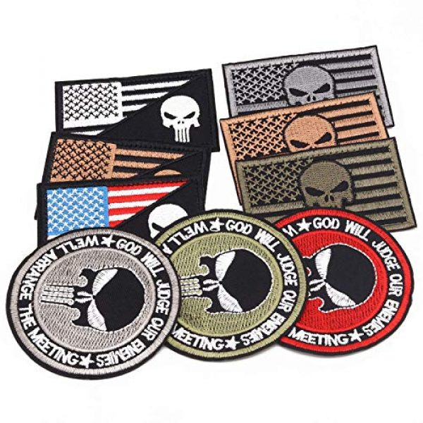 Winrase Airsoft Patch 4 9pcs American Flag Tactical Military Morale Iron on Patches Embroidered Set for Caps, Bags, Backpacks, Tactical Vest, Military Uniforms (Tactical 9pcs)