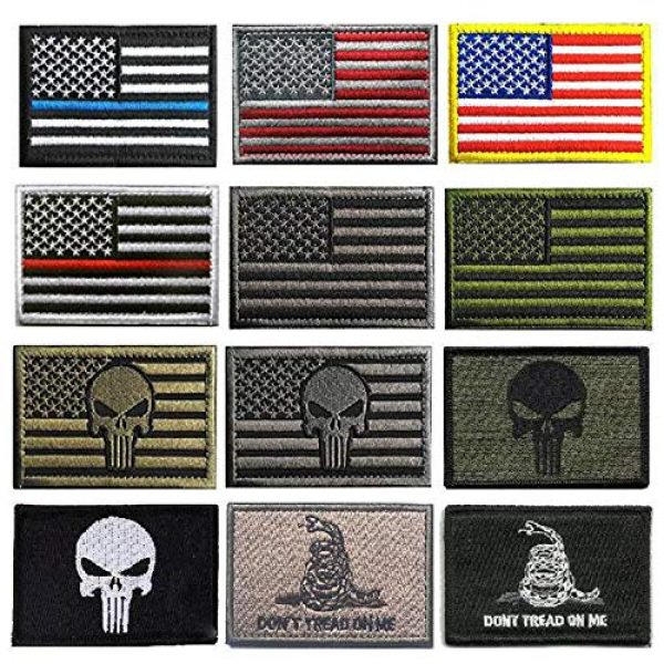 KISEER Airsoft Patch 1 KISEER 12 Pieces US Flag Patch American Flag Punisher Velcro Patches Badges, Don't Tread On Me Fully Embroidered Tactical Military Morale Patches Set