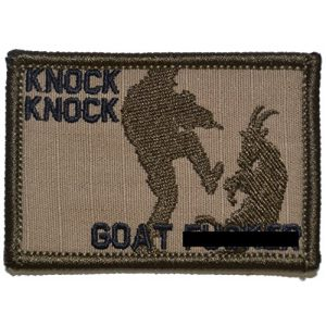 Tactical Gear Junkie Airsoft Patch 1 Knock Knock Goat Fer - 2x3 Morale Patch Funny (Coyote Brown with Black)