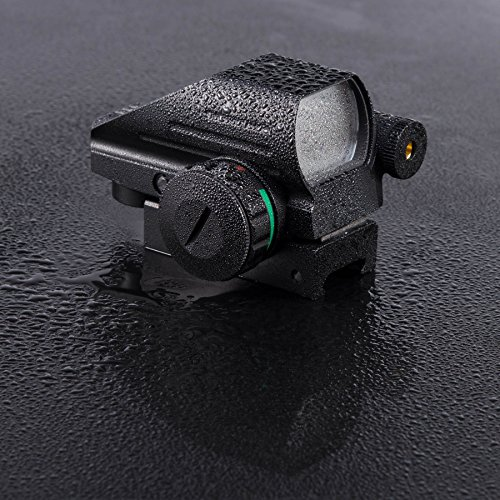 HIRAM Airsoft Gun Sight 6 HIRAM 1x22x33 Holographic Reflex Scope Sight with 4 Reticles Red and Green Dot with Red Laser