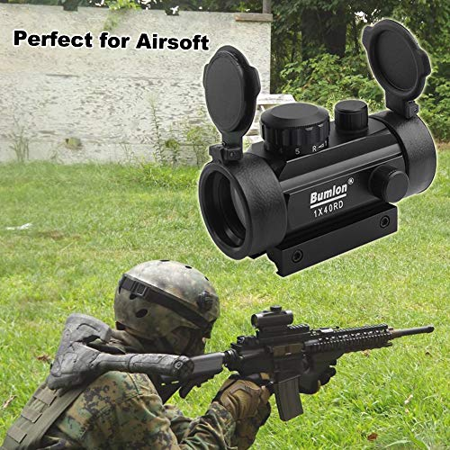 Bumlon Airsoft Gun Sight 6 Bumlon Red Green Dot Sight Rifle Scope Reflex Holographic Optics Tactical Fits 11mm/ 20mm Rail with Flip up Lens Cover for Airsoft Gun