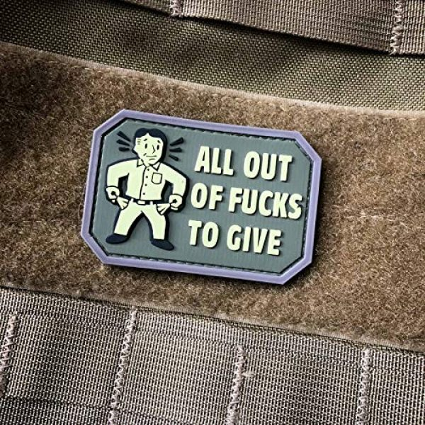 NEO Tactical Gear Airsoft Patch 3 NEO Tactical Gear All Out of Fucks to Give PVC Rubber Morale Patch - Military and Airsoft Offensive Funny Morale Patch Hook Backed