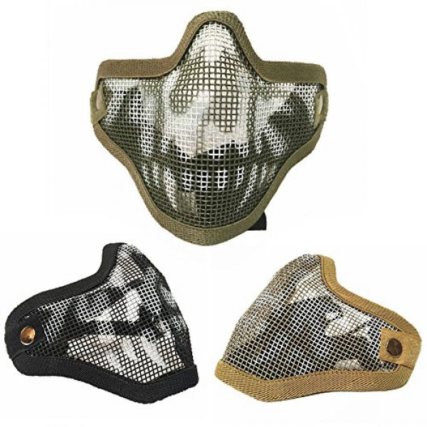 Sizet Airsoft Mask 6 Sizet Airsoft Skull Steel Mesh Half Face Mask Protector (Black)