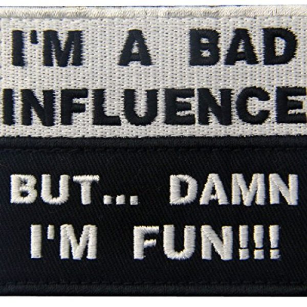 EmbTao Airsoft Patch 2 I'm A Bad Influence But Damn I'm Fun Tactical Military Funny Applique Fastener Hook & Loop Patch