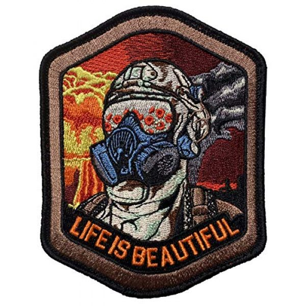 F-Bomb Morale Gear Airsoft Morale Patch 1 Life is Beautiful - Field of Poppies Reflected in M5O CBRN Gas Mask - Tactical Morale Patch with Hook-Fastener Backing