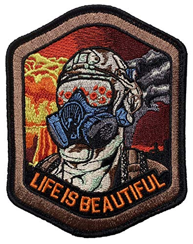 F-Bomb Morale Gear Airsoft Patch 1 Life is Beautiful - Field of Poppies Reflected in M5O CBRN Gas Mask - Tactical Morale Patch with Hook-Fastener Backing