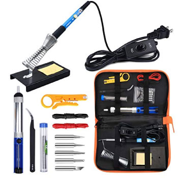 Anbes Soldering Iron Kit Electronics 60W Adjustable Temperature Welding Tool 5pcs Soldering Tips Desoldering Pump Soldering Iron Stand Tweezers Best Airsoft Gun Soldering Iron