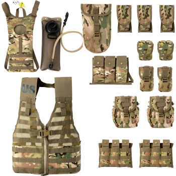 Military Molle II Rifleman Combat Vest FLC Pouches Assault Hydration Multicam Vest for Airsoft