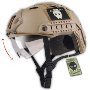 ATAIRSOFT PJ Type Tactical Multifunctional Airsoft Fast Helmet with Visor Goggles Version DE