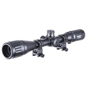 Pinty Rifle Scope 1 Pinty 4-16X40 Rifle Scope AO Red Green Blue Illuminated Mil Dot with Flip-Open Covers, Sunshade Tube