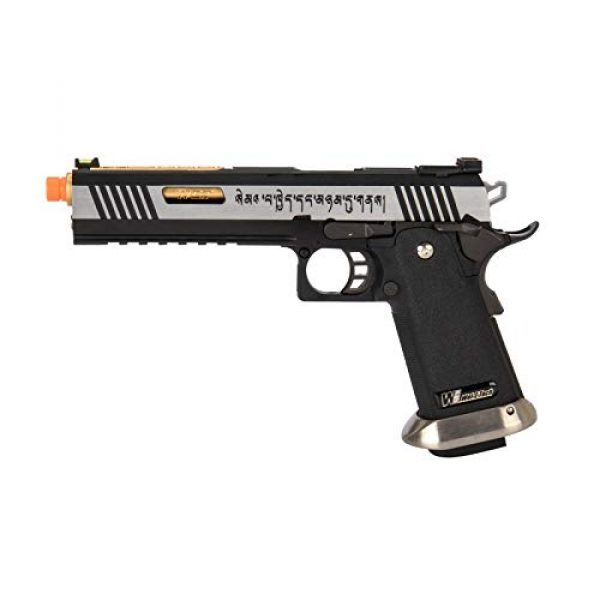 """Lancer Tactical Airsoft Pistol 1 Lancer Tactical WE-Tech Hi-Capa 6"""" IREX Full Auto Competition GBB Airsoft Pistol Black Silver Gold with Markings"""