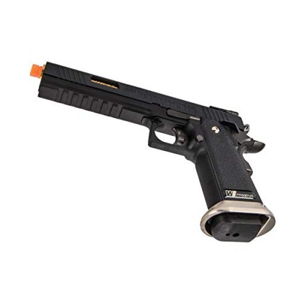 """Lancer Tactical Airsoft Pistol 5 Lancer Tactical WE-Tech Hi-Capa 6"""" IREX Full Auto Competition Airsoft Pistol Black Gold Barrel with Markings"""