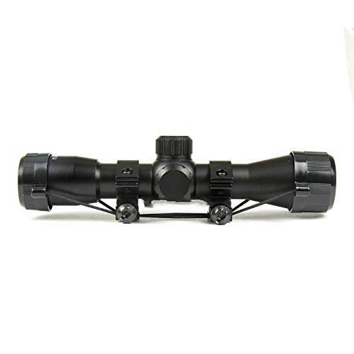 "DB TAC INC Rifle Scope 3 DB TAC 4x32 Crossbow Etched Glass Reticle Circles and Rangefinder, Only Circles Red or Green Illuminated, 1"" Tube and Mid-Height Weaver Ring Mount"