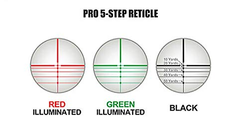"DB TAC INC Rifle Scope 2 DB TAC 4x32 Crossbow Etched Glass Reticle Circles and Rangefinder, Only Circles Red or Green Illuminated, 1"" Tube and Mid-Height Weaver Ring Mount"