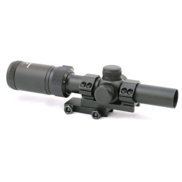 Hammers Rifle Scope 2 Hammers 1-4x20 Compact Short Rifle Scope w/Illuminated Etched Glass Donut Dot Reticle Offset Scope Mount