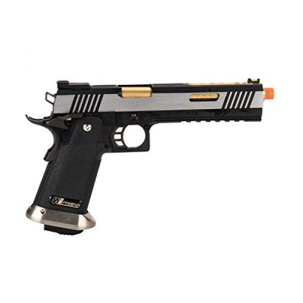 """Lancer Tactical Airsoft Pistol 2 Lancer Tactical WE-Tech Hi-Capa 6"""" IREX Competition Full Auto Gas Blowback Airsoft Pistol Black Silver Gold Barrel"""