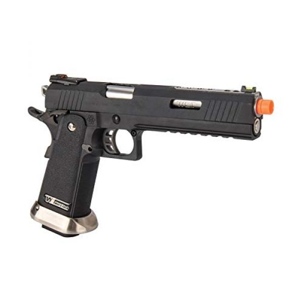 """Lancer Tactical Airsoft Pistol 4 Lancer Tactical WE-Tech Hi-Capa 6"""" IREX Competition Full Auto Gas Blowback Airsoft Pistol Black Silver Barrel"""