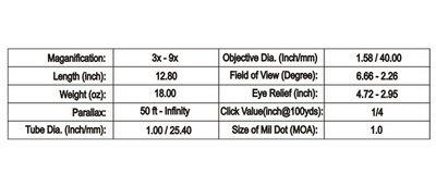 TufForce Rifle Scope 3 TufForce SF39-40AIM - 3-9X40 Full Size Scope
