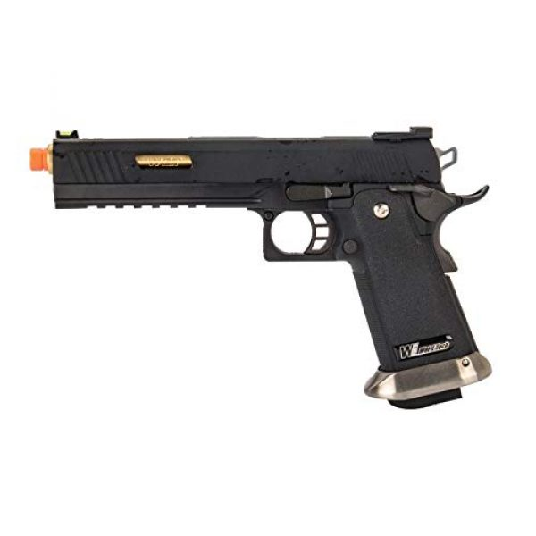 "Lancer Tactical Airsoft Pistol 1 Lancer Tactical WE-Tech Hi-Capa 6"" IREX Competition Full Auto Gas Blowback Airsoft Pistol Black Gold Barrel"