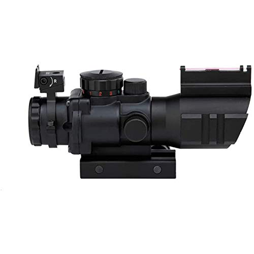 TTHU Rifle Scope 5 Rifle Scope Tactical Rimfire Scope 4X32 Red/Green/Blue Triple Illuminated Rapid Range Reticle Rifle Scope W/Top Fiber Optic Sight and Weaver Slots