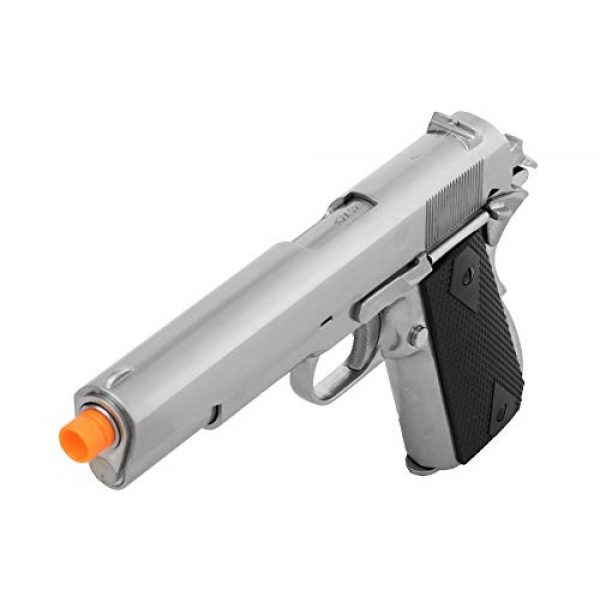 Lancer Tactical Airsoft Pistol 3 Lancer Tactical WE 1911 MEU Airsoft Gas Blowback Pistol with Classic Grips Silver 330 FPS