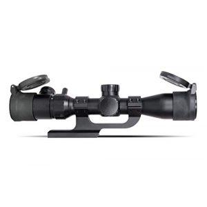 Monstrum Rifle Scope 2 Monstrum 3-9x32 AO Rifle Scope with Illuminated Range Finder Reticle and Parallax Adjustment | ZR250 H-Series Offset Scope Mount | Monstrum Flip Up Lens Cover Set | Bundle