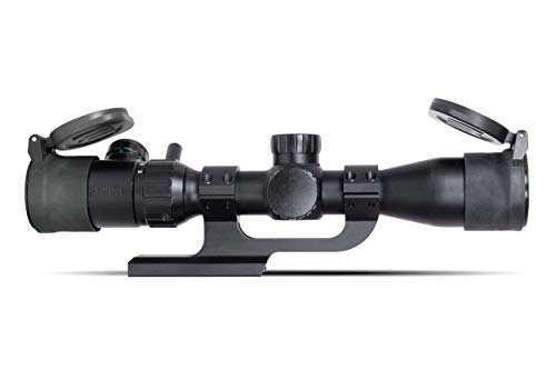 Monstrum Rifle Scope 2 Monstrum 3-9x32 AO Rifle Scope with Illuminated Range Finder Reticle and Parallax Adjustment | ZR250 H-Series Offset Scope Mount | Monstrum Flip Up Lens Cover Set | Bundle