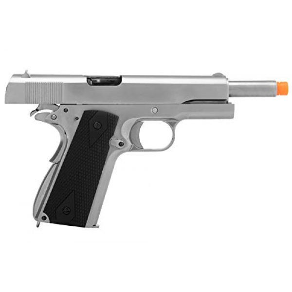 Lancer Tactical Airsoft Pistol 6 Lancer Tactical WE 1911 MEU Airsoft Gas Blowback Pistol with Classic Grips Silver 330 FPS